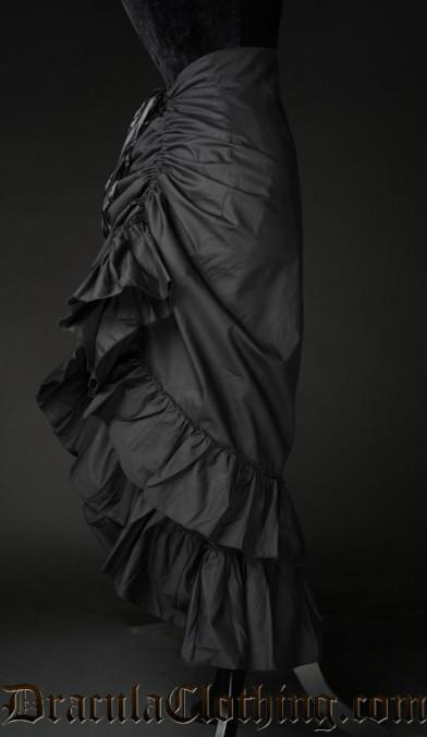 Black Cotton Two Layer Bustle Skirt