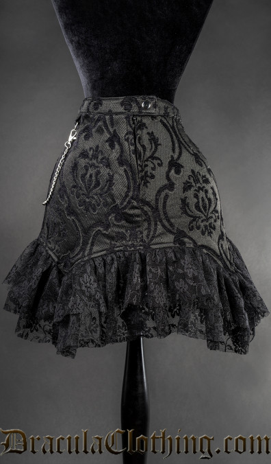 Black Brocade Empusa Skirt