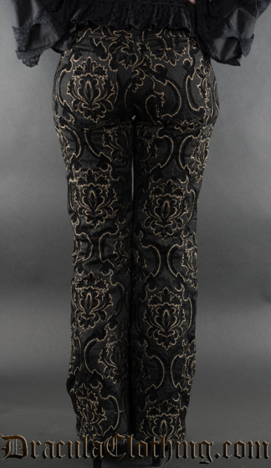 Black Jacquard Female Pirate Officer Pants