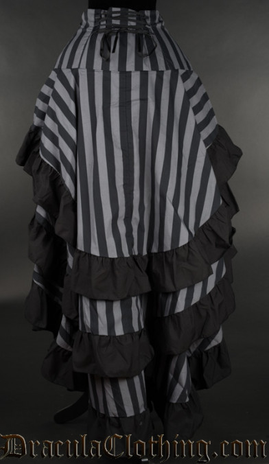 Grey Striped Layer Bustle Skirt