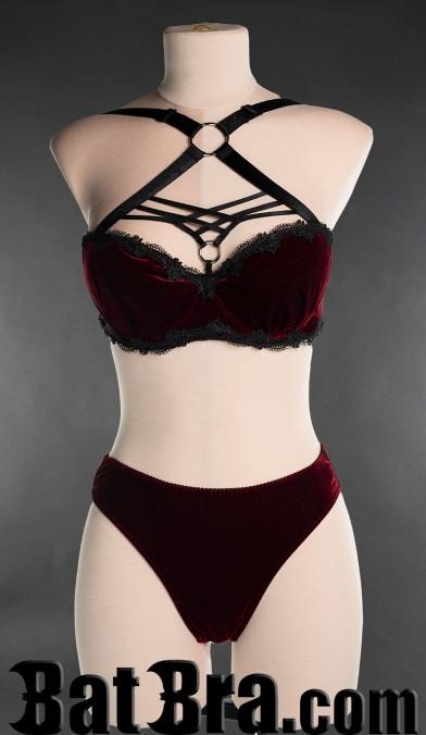 Red Velvet Harness Bra