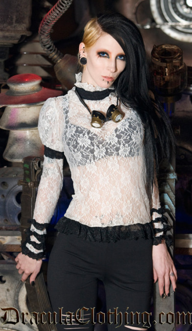 Black Steampunk Lace Top
