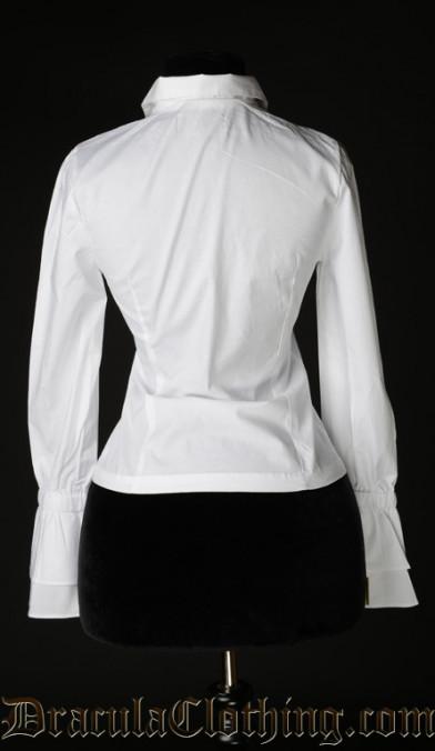 White Cotton Elegant Cravat Blouse