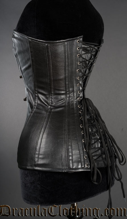 FAUX LEATHER CLEAVAGE CLASP CORSET