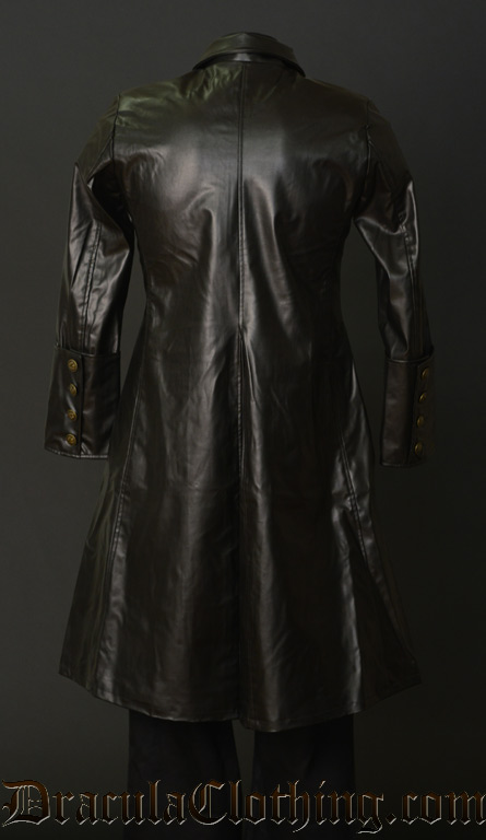Faux Leather Officer Coat