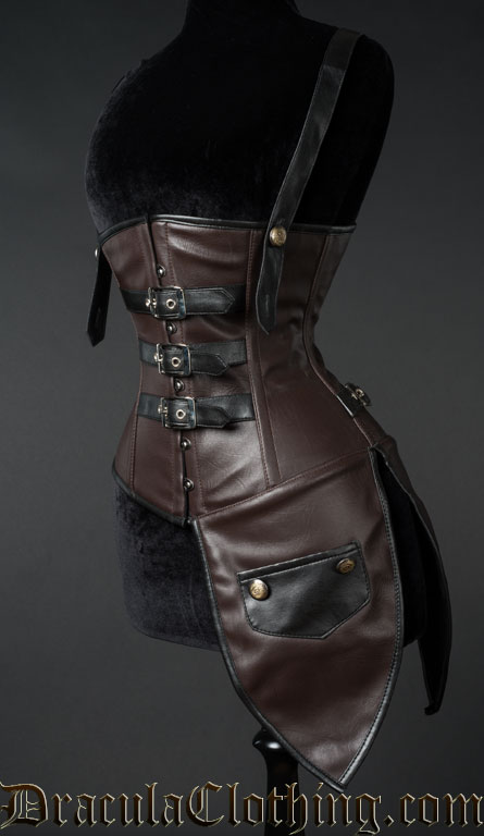 Faux Leather Steampunk Aviator Corset