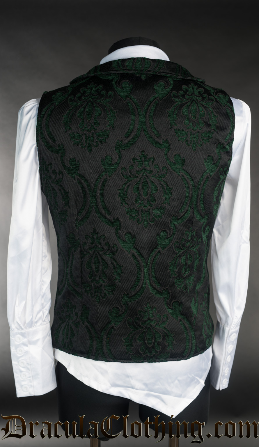 Green Brocade Double Buttoned Vest