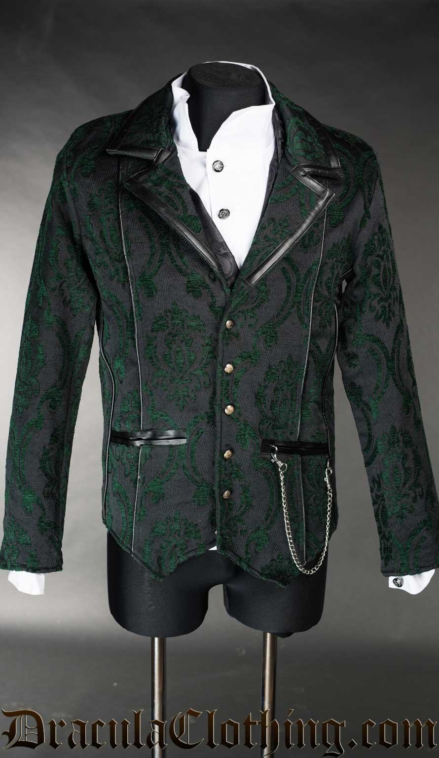 Green Brocade Tesla Jacket