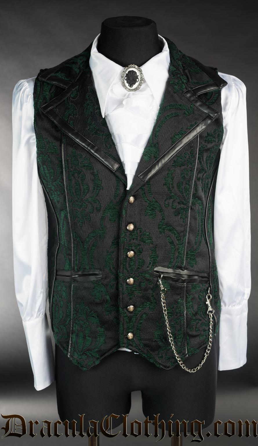 Green Brocade Tesla Vest