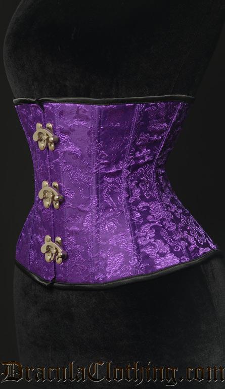 Purple Brocade Clasp Corset