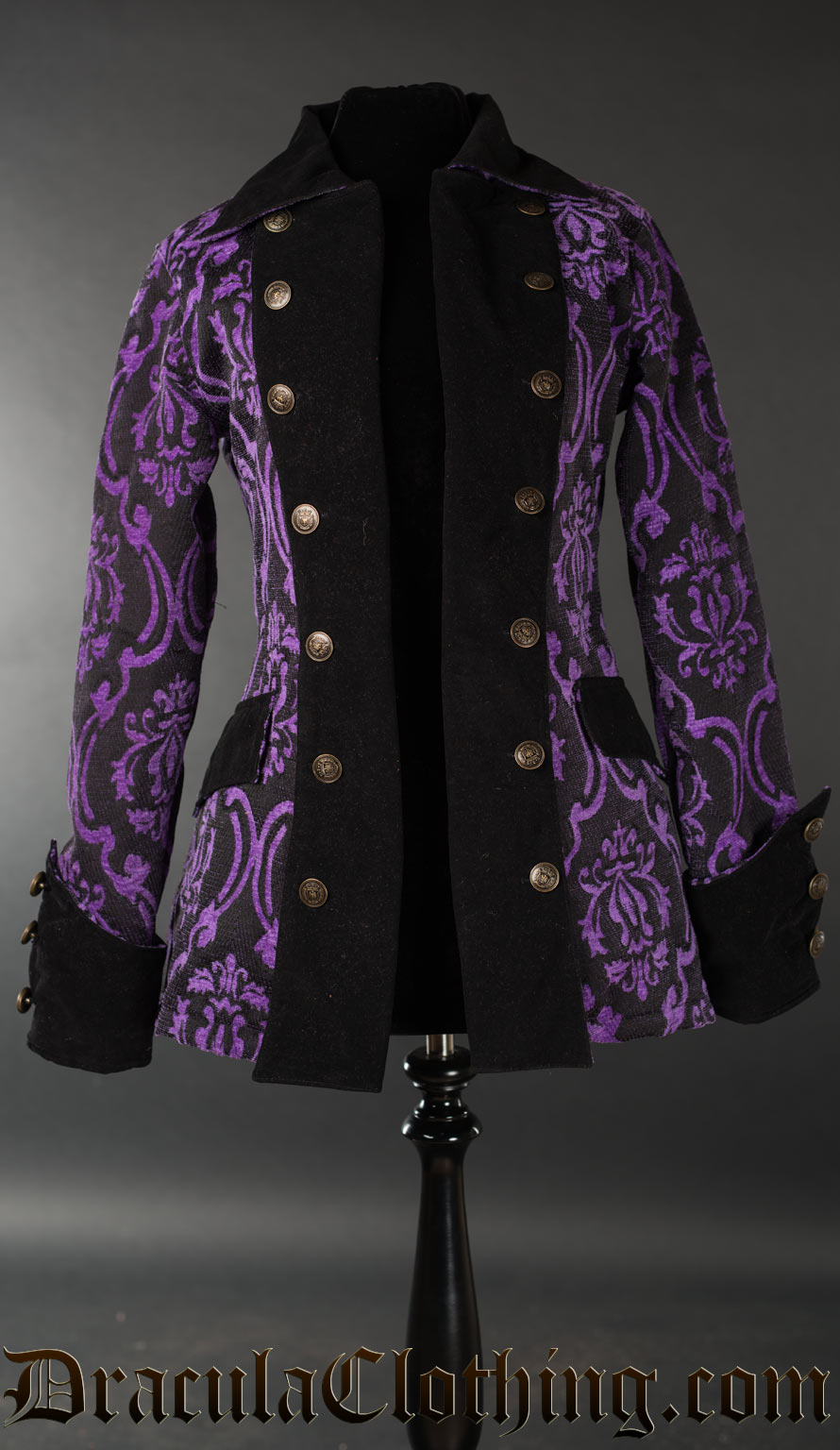 Purple Brocade Female Pirate Jacket