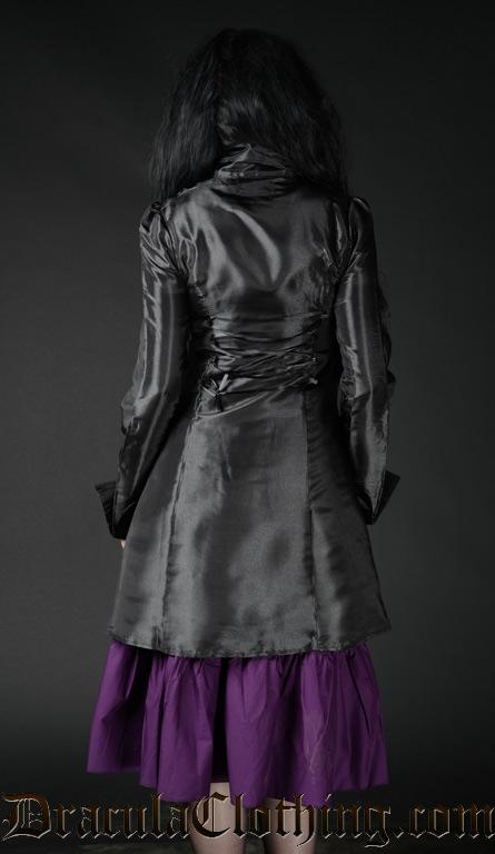 Black Satin Military Coat