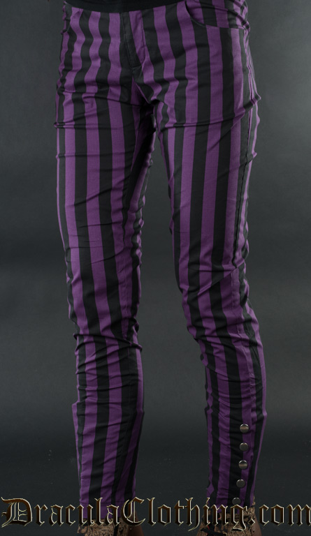 Purple Striped Five Button Pants