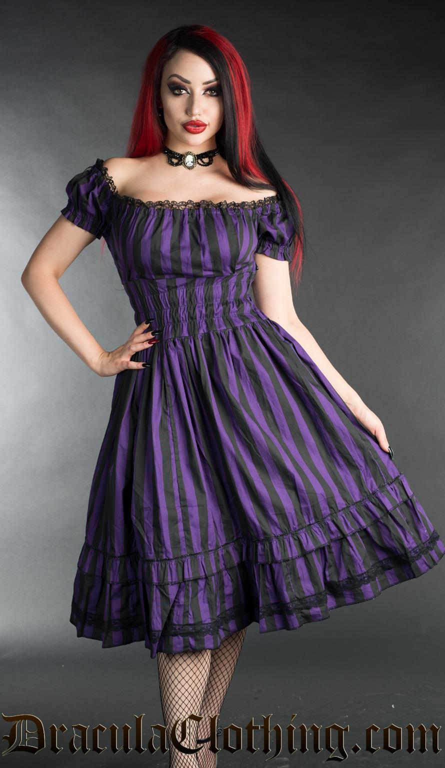 Purple Striped Gothabilly Dress