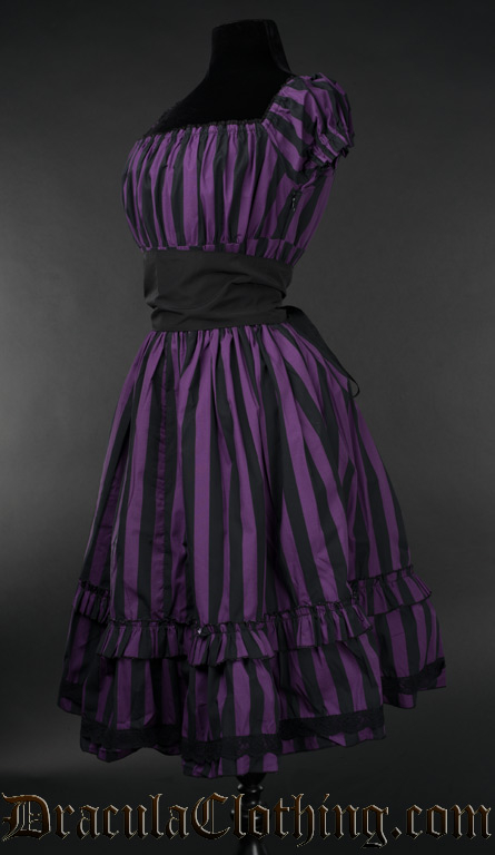 Purple Striped Gothabilly Dress Old Sizes