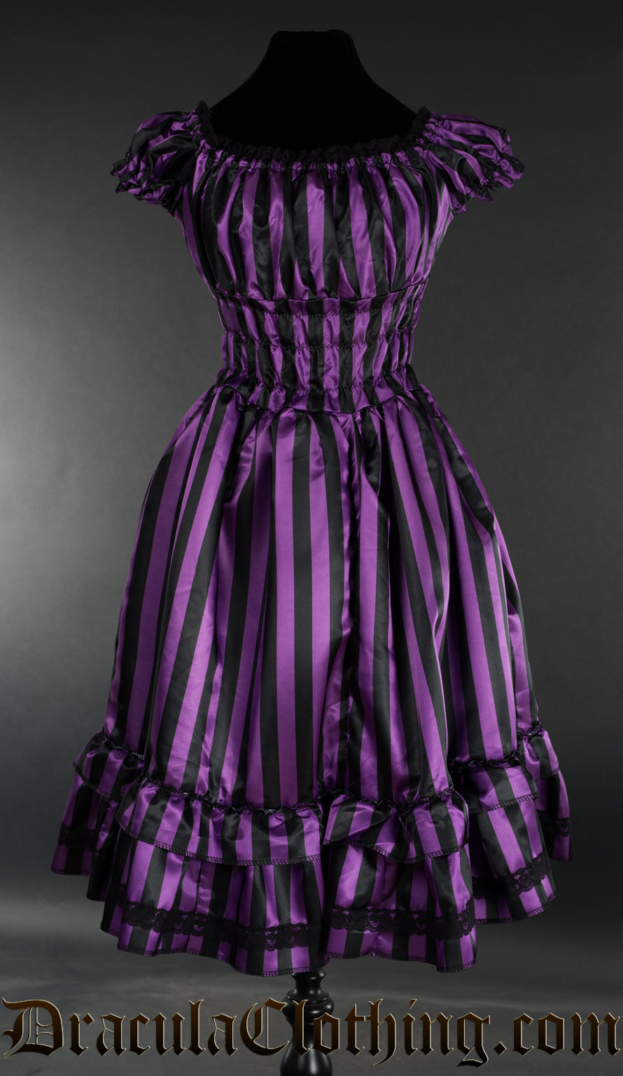 Purple Striped Satin Gothabilly Dress