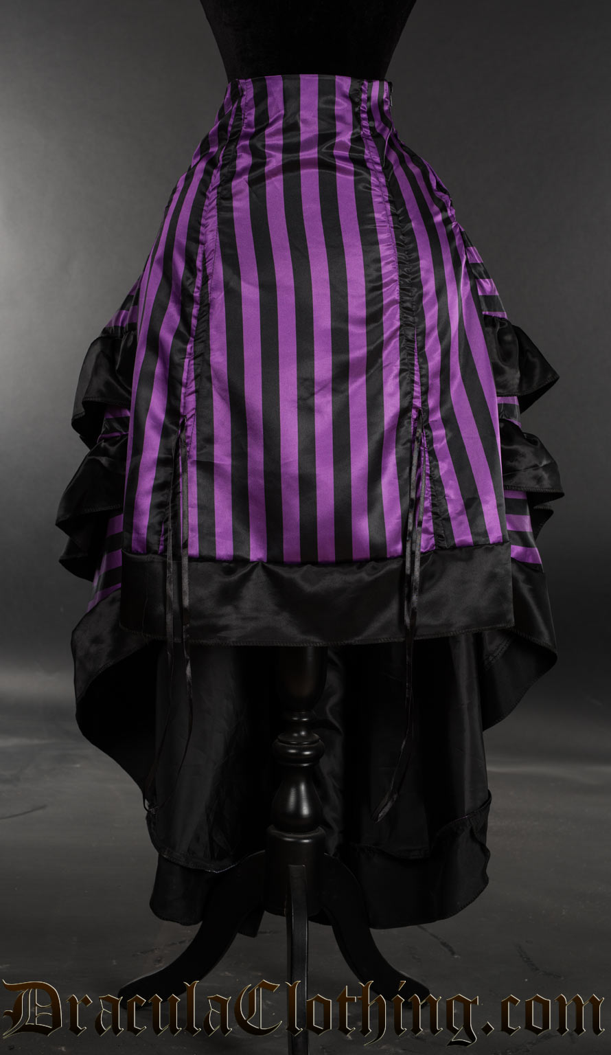 Purple Striped Satin Layer Bustle Skirt