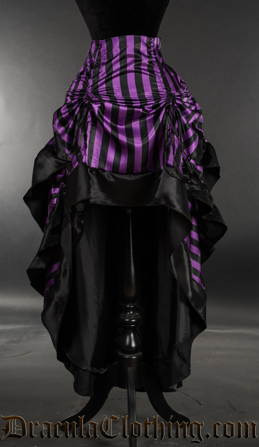 Purple Striped Satin Layer Bustle Skirt
