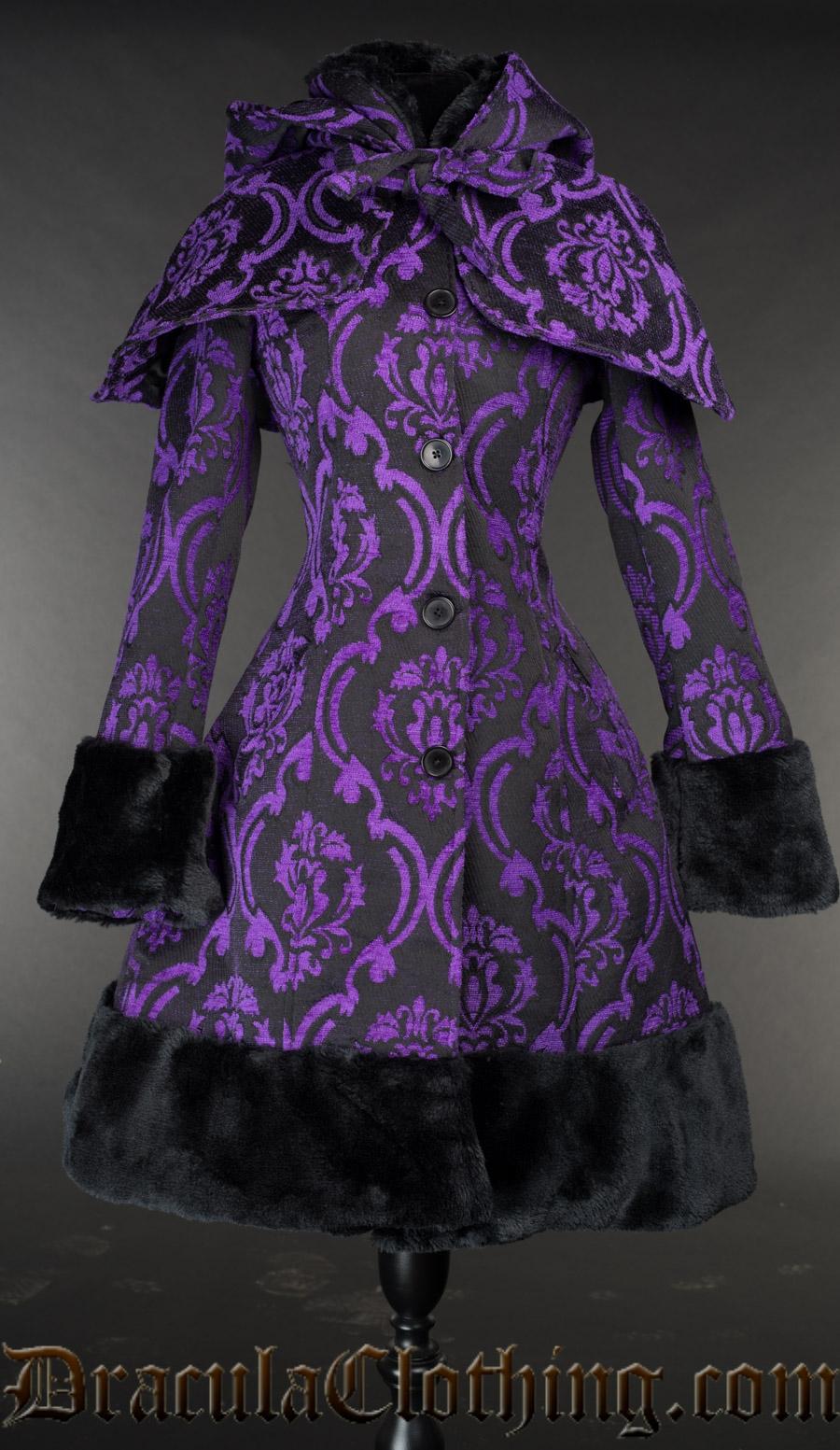 Purple Brocade Thick Winter Coat