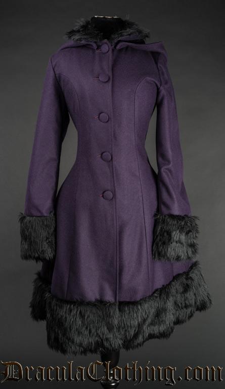 Purple Thick Winter Wool Coat