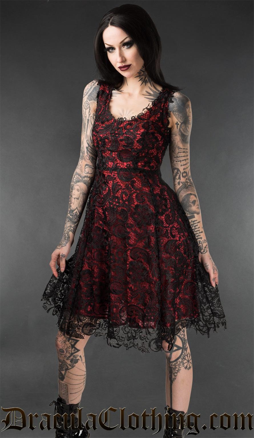 Red Art Deco Dress - Dresses - Ladies Clothing