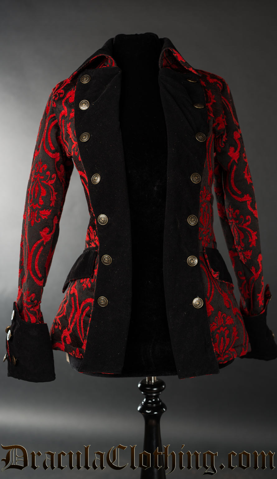 Red Brocade Female Pirate Jacket