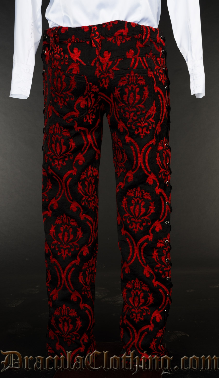 Red Brocade Laced Pants