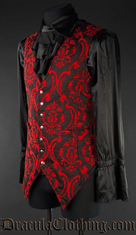 Red Brocade Long Vest