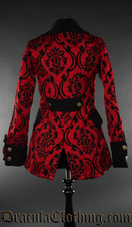 Crimson Brocade Female Pirate Jacket