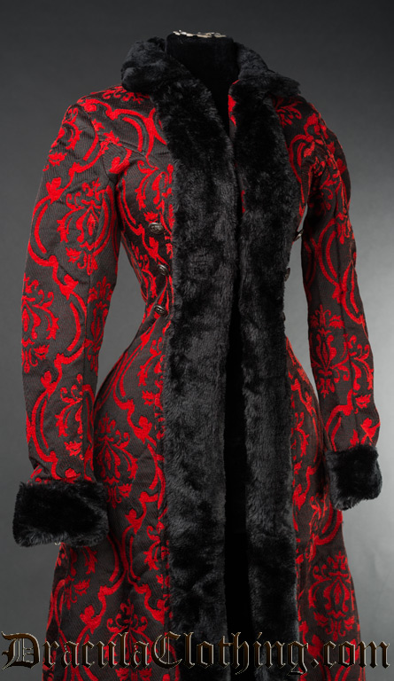 Red Brocade Shieldmaiden Coat