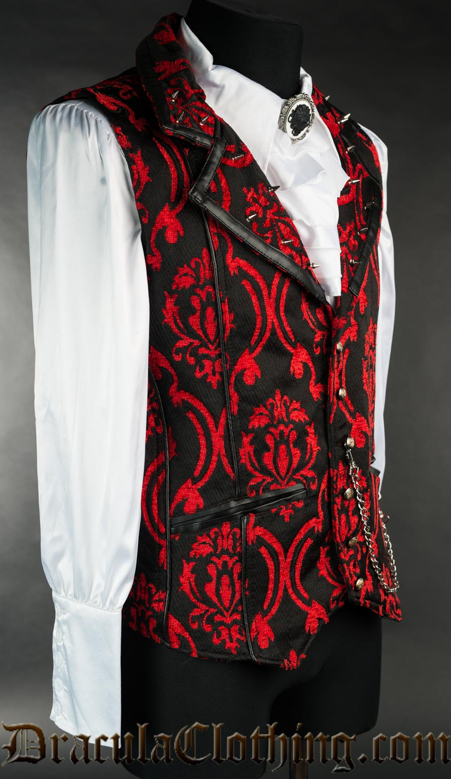 Red Brocade Spiked Vest