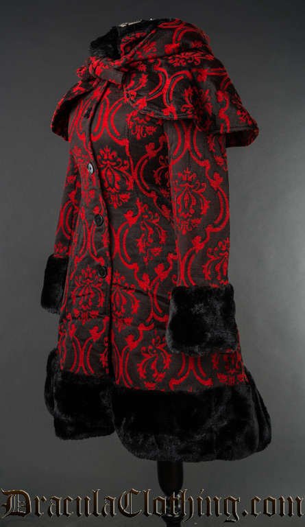 Red Brocade Thick Winter Coat - Fleece Lining