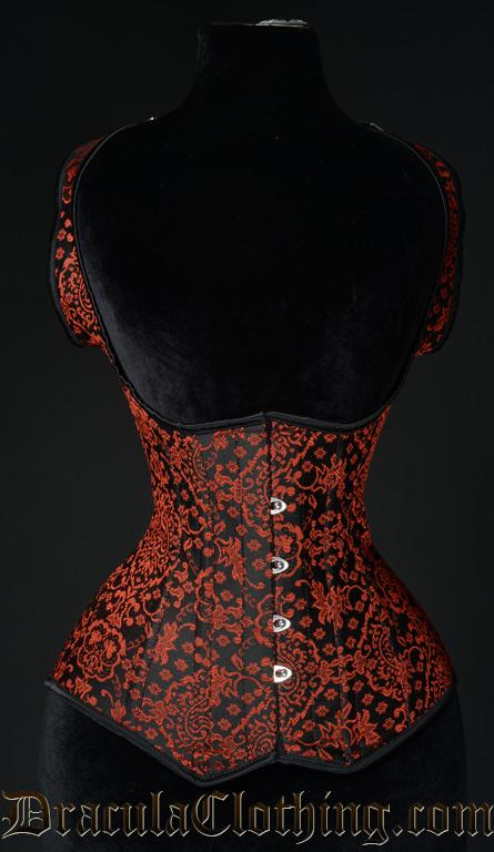 Red Jacquard Shoulder Corset