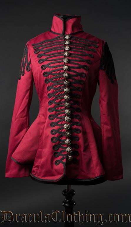 Red Ladies Military Jacket-8383