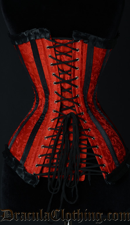 Red Brocade Romantic Clasp Overbust