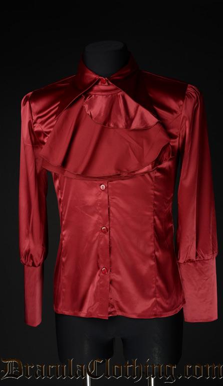 Red Satin Cravat Shirt