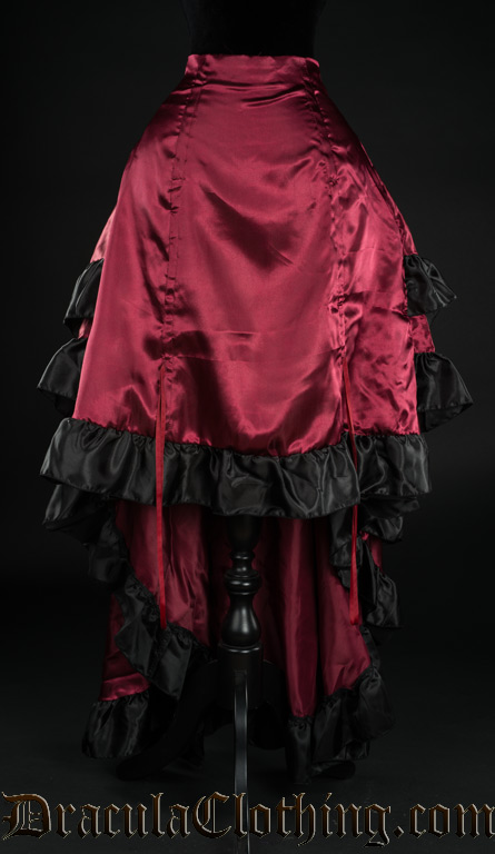 Red Satin Layer Bustle Skirt