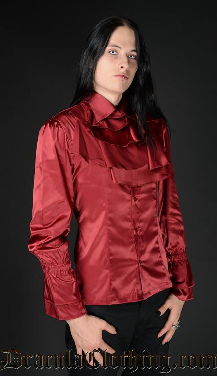 Red Satin Ruffle Shirt
