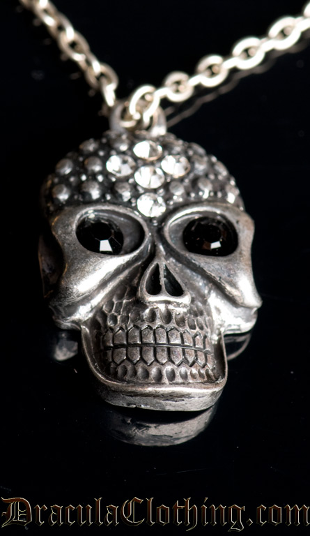 Rhinestone Skull Necklace