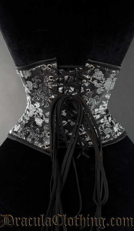 Silver Brocade Dragon Waist Cincher
