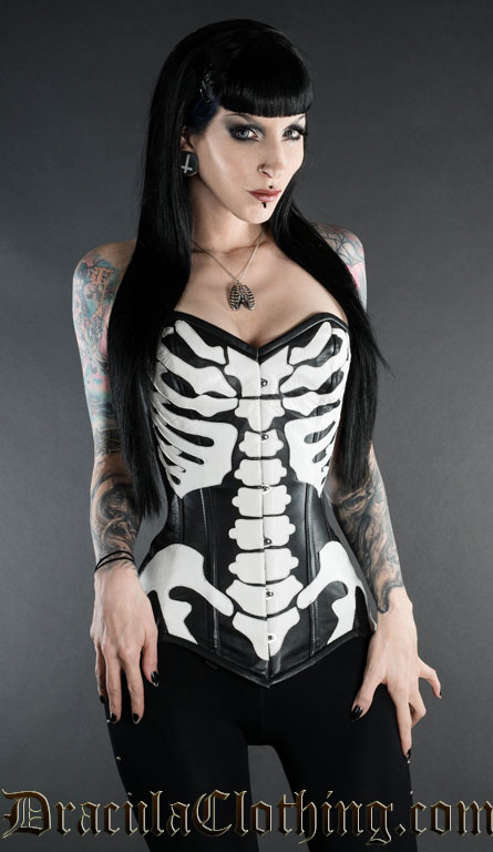 Faux Leather Skeleton Corset