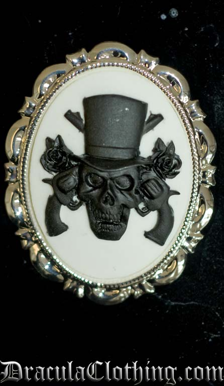 Skull And Guns Cameo Brooch