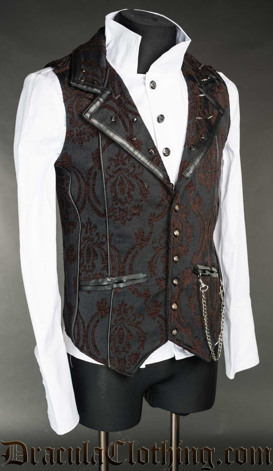 Steampunk Brocade Spiked Vest