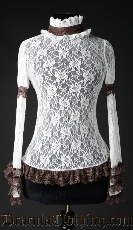 Brown Steampunk Lace Top - Old Sizes