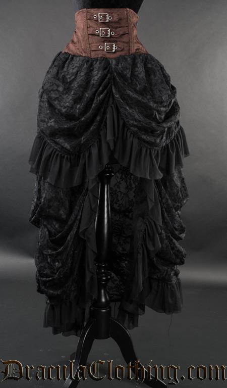 steampunk high waist bustle skirt