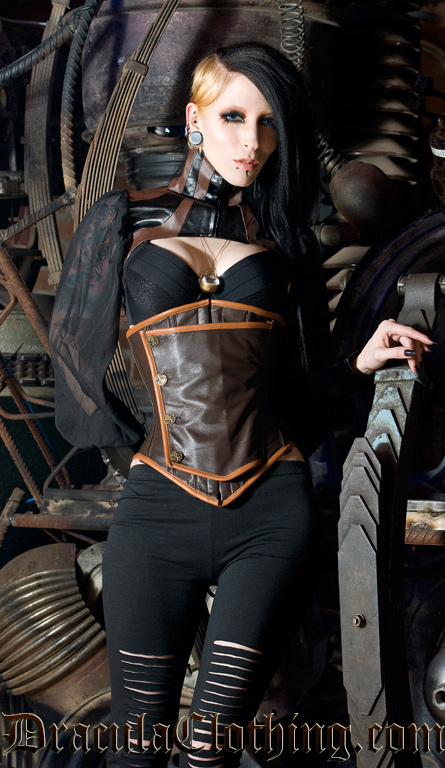 Ring In The Steampunk Decor To Pimp Up Your Home: Leather Steampunk Officer Underbust