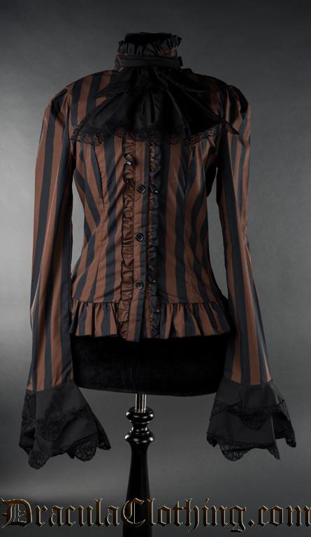Steampunk Striped Cravat Blouse