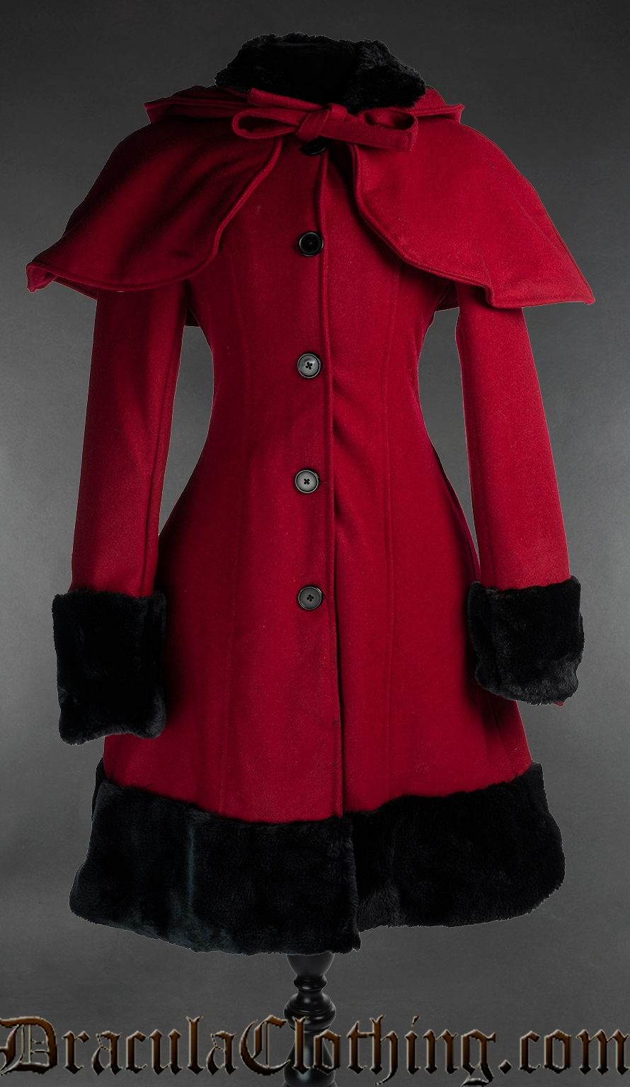 Thick Red Winter Wool Coat