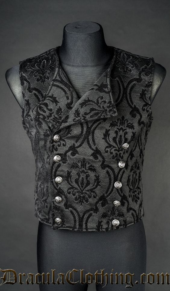 Thick Black Brocade Double Buttoned Vest