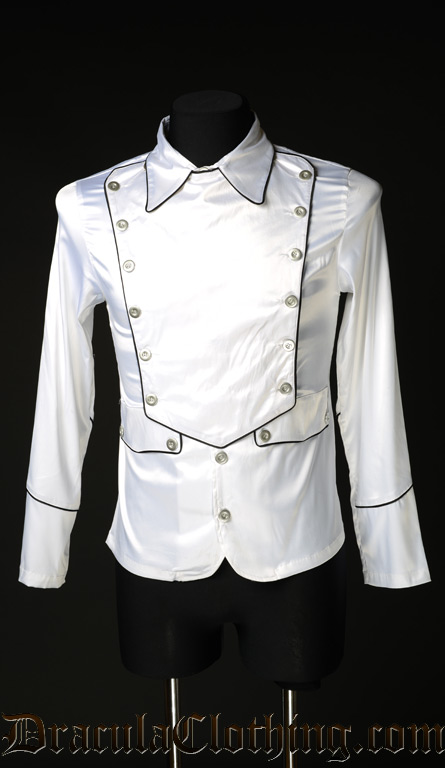 White Satin Military Shirt
